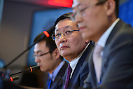 Washington, DC - April 15, 2016: Lou Jiwei, Chinese Minister of Finance, listens to a reporter's question during a news conference on behalf of the G20 finance ministers and Central Bank governors at the World Bank Headquarters in the District of Columbia during the IMF/World Bank spring Meetings, April 15, 2016.  (Photo by Don Baxter/Media Images International)