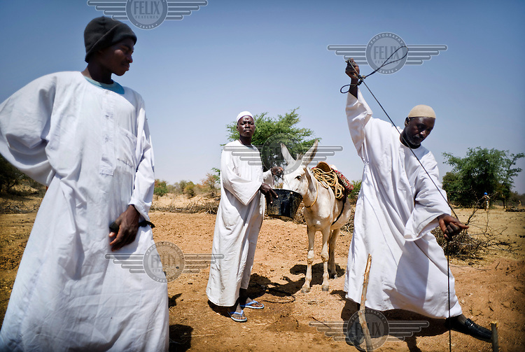 Members of a nomadic Arab tribe fetch water for their animals from a well. Thousands of people are returning home for the first time in almost ten years in the war-wracked region of Darfur. The Nyoro area of West Darfur is now considered one of the brightest glimmers of hope in the whole region.