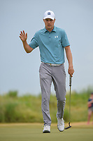Jordan Spieth (USA) sinks his birdie putt on 1 during round 4 of the AT&T Byron Nelson, Trinity Forest Golf Club, at Dallas, Texas, USA. 5/20/2018.<br /> Picture: Golffile | Ken Murray<br /> <br /> All photo usage must carry mandatory copyright credit (© Golffile | Ken Murray)
