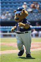 Asheville Tourists mascot Ted E. Tourists runs the bases between innings of the South Atlantic League game against the Rome Braves at McCormick Field on July 26, 2015 in Asheville, North Carolina.  The Tourists defeated the Braves 16-4.  (Brian Westerholt/Four Seam Images)