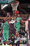 Lehigh Mountain Hawks guard Mackey McKnight (11) and North Texas Mean Green guard Jordan Williams (23) in action during the game between the Lehigh Mountain Hawks and the North Texas Mean Green at the Super Pit arena in Denton, Texas. Lehigh defeats UNT 90 to 75...