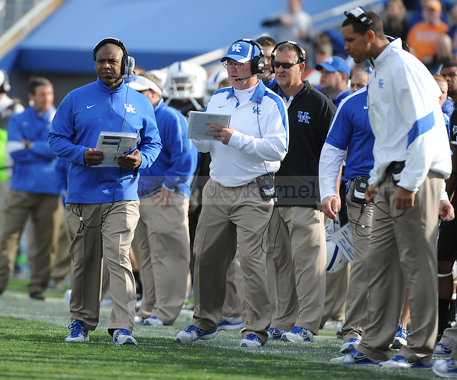 Head coach Joker Phillips on the sideline during the second half of the University of Kentucky football game against Tennessee at Commonwealth Stadium in Lexington, Ky., on 11/26/11. UK won the game 10-7. Photo by Bob Weaver | Staff