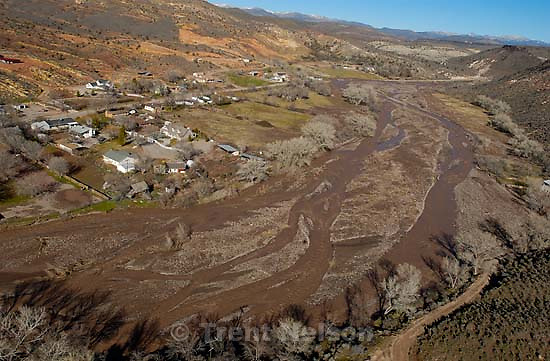The town of Gunlock, stranded during the flood. Santa Clara river.<br />
