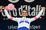 Maximilian Schachmann (GER) Quick-Step Floors retains the young riders Maglia Bianca on the podium at the end of Stage 5 of the 2018 Giro d'Italia, running 153km from Agrigento to Santa Ninfa (Valle del Belice), Sicily, Italy. 9th May 2018.<br /> Picture: LaPresse/Gian Mattia D'Alberto | Cyclefile<br /> <br /> <br /> All photos usage must carry mandatory copyright credit (&copy; Cyclefile | LaPresse/Gian Mattia D'Alberto)