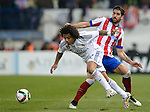 Real Madrid brasilian defender Marcelo and Atletico de Madrid Spanish foward Raul Garcia  during the king´s cup football match with Atletico de Madrid vs Real Madrid at the Vicente Calderon stadium in Madrid on Jaunary 7, 2015. DP by Photocall3000.