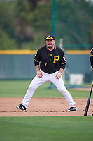 Pittsburgh Pirates Garth Brooks (7) leads off first base in a drill during the teams first Spring Training practice on February 18, 2019 at Pirate City in Bradenton, Florida.  (Mike Janes/Four Seam Images)