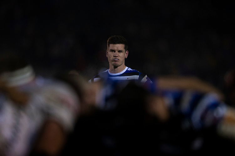 Bath Rugby's Freddie Burns<br /> <br /> Photographer Bob Bradford/CameraSport<br /> <br /> Gallagher Premiership - Bath Rugby v Gloucester Rugby - Monday 4th February 2019 - The Recreation Ground - Bath<br /> <br /> World Copyright © 2019 CameraSport. All rights reserved. 43 Linden Ave. Countesthorpe. Leicester. England. LE8 5PG - Tel: +44 (0) 116 277 4147 - admin@camerasport.com - www.camerasport.com