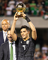 CHICAGO, IL - JULY 7: Raul Jimenez #9 receives the golden ball award during a game between Mexico and USMNT at Soldier Field on July 7, 2019 in Chicago, Illinois.