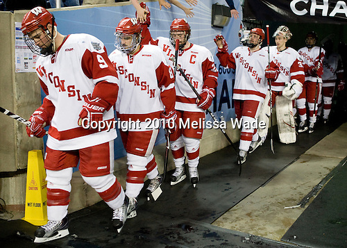 Michael Davies (Wisconsin - 9), Podge Turnbull (Wisconsin - 8), Ben Street (Wisconsin - 22) (?, Bennett) - The University of Wisconsin Badgers defeated the Rochester Institute of Technology (RIT) Tigers 8-1 in the 2010 NCAA Frozen Four Semi-Final on Thursday, April 8, 2010, at Ford Field in Detroit, Michigan.