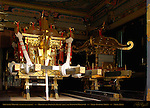 Mikoshi Sacred Spirit Palanquins for Tokugawa Ieyasu (left) and Toyotomi Hideyoshi Shinyosha Shed Honsha Central Shrine Nikko Toshogu Shrine Nikko Japan