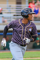 Quad Cities River Bandits third baseman Wander Franco (4) rounds first base during a Midwest League game against the Beloit Snappers on June 18, 2017 at Pohlman Field in Beloit, Wisconsin.  Quad Cities defeated Beloit 5-3. (Brad Krause/Four Seam Images)