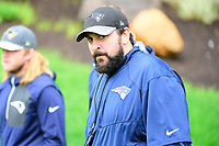 June 6, 2017: New England Patriots defensive coordinator Matt Patricia walks to practice in the rain at the New England Patriots mini camp held on the practice field at Gillette Stadium, in Foxborough, Massachusetts. Eric Canha/CSM