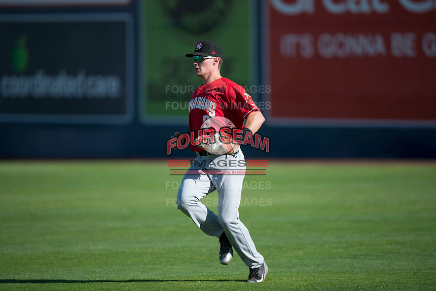 Vancouver Canadians right fielder Griffin Conine (9) during a Northwest League game against the Spokane Indians at Avista Stadium on September 2, 2018 in Spokane, Washington. The Spokane Indians defeated the Vancouver Canadians by a score of 3-1. (Zachary Lucy/Four Seam Images)