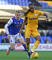 Preston North End's Daniel Johnson gets away from Ipswich Town's Flynn Downes<br /> <br /> Photographer David Shipman/CameraSport<br /> <br /> The EFL Sky Bet Championship - Ipswich Town v Preston North End - Saturday 3rd November 2018 - Portman Road - Ipswich<br /> <br /> World Copyright &copy; 2018 CameraSport. All rights reserved. 43 Linden Ave. Countesthorpe. Leicester. England. LE8 5PG - Tel: +44 (0) 116 277 4147 - admin@camerasport.com - www.camerasport.com