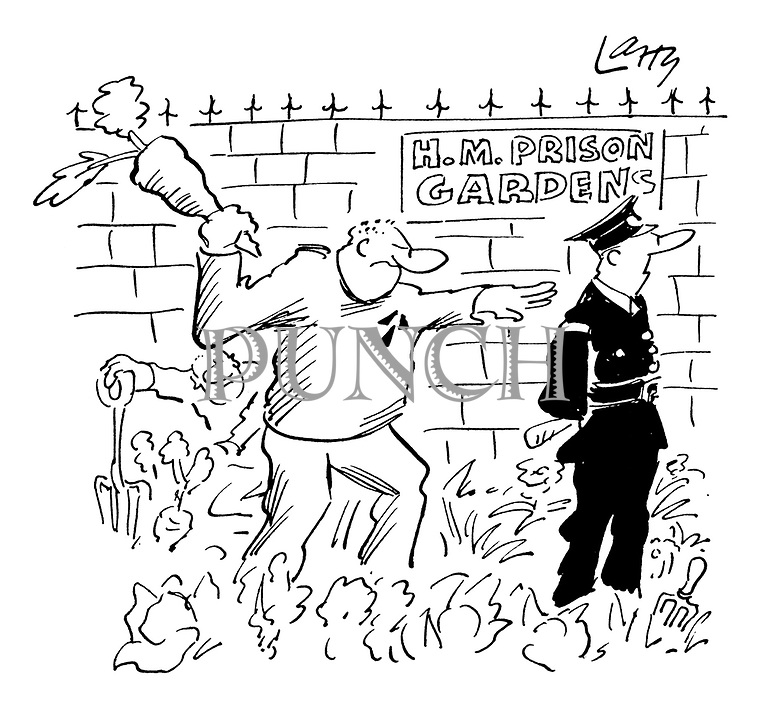 (A prisoner working in a prison garden attempts to hit a guard over the head with a giant parsnip/carrot)