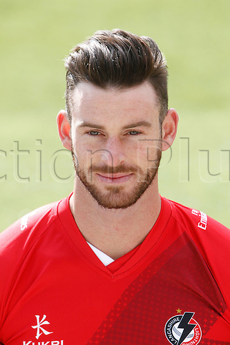 08.04.2016. Old Trafford, Manchester, England. Lancashire County Cricket Press Call. Lancashire all-rounder Jordan Clark.