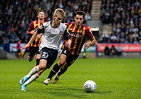 Bolton Wanderers' Ronan Darcy competing with Bradford City's Shay McCartan (right) <br /> <br /> Photographer Andrew Kearns/CameraSport<br /> <br /> EFL Leasing.com Trophy - Northern Section - Group F - Bolton Wanderers v Bradford City -  Tuesday 3rd September 2019 - University of Bolton Stadium - Bolton<br />  <br /> World Copyright © 2018 CameraSport. All rights reserved. 43 Linden Ave. Countesthorpe. Leicester. England. LE8 5PG - Tel: +44 (0) 116 277 4147 - admin@camerasport.com - www.camerasport.com