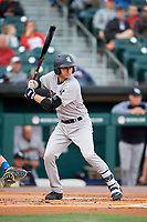 Scranton/Wilkes-Barre RailRiders designated hitter Kyle Higashioka (38) at bat during a game against the Buffalo Bisons on May 18, 2018 at Coca-Cola Field in Buffalo, New York.  Buffalo defeated Scranton 5-1.  (Mike Janes/Four Seam Images)