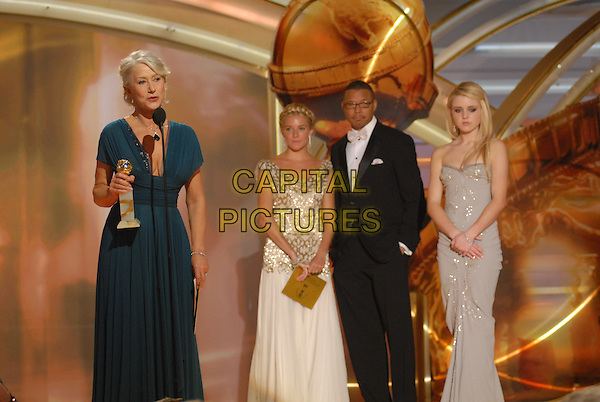 "TERRENCE HOWARD, SIENNA MILLER, HELEN MIRREN & LORRAINE NICHOLSON.Accepts her awards for Best Performance by an Actress in a Motion Picture - Drama award for ""The Queen"" and Best Performance by an Actress in a Mini-Series or a Motion Picture Made for Television award for ""Elizabeth I"" .Telecast - 64th Annual Golden Globe Awards, Beverly Hills HIlton, Beverly Hills, California, USA..January 15th 2007.globes half length microphone blue green teal dress.CAP/AW.Please use accompanying story.Supplied by Capital Pictures.© HFPA"" and ""64th Golden Globe Awards"""