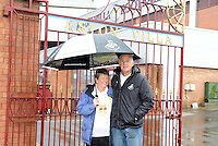 Gill and Les brave the bad weather before the Barclays Premier League match between Aston Villa v Swansea City played at the Villa Park Stadium, Birmingham on October 24th 2015