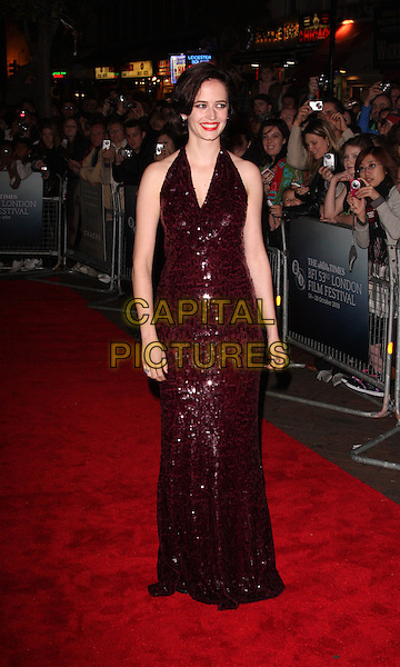 "EVA GREEN .At the Times BFI 53rd London Film Festival Gala screening of ""Cracks"" at the Vue West End cinema, Leicester Square, London,  October 25th 2009..full length red burgundy maroon sequined sequin long maxi halterneck dress .CAP/ROS.©Steve Ross/Capital Pictures"