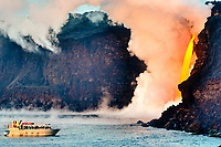 People on the seacliff above the giant Fire hose, Kamokuna ocean entry, Kilauea volcano, Hawaii Volcanoes National Park, Big Island, Hawaii, USA