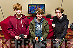 Evan Casey (Ballyheigue), Adam Dineen (Ballyheigue) and Jared O'Brien (Tralee) at the Kingdom Q Super Smash Bros Tournament in the Meadowlands on Saturday morning.