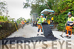 Workers pouring tarmacadam on the Dinis to Muckross road on Monday as they rush to open the road ahead of the Ring of Kerry
