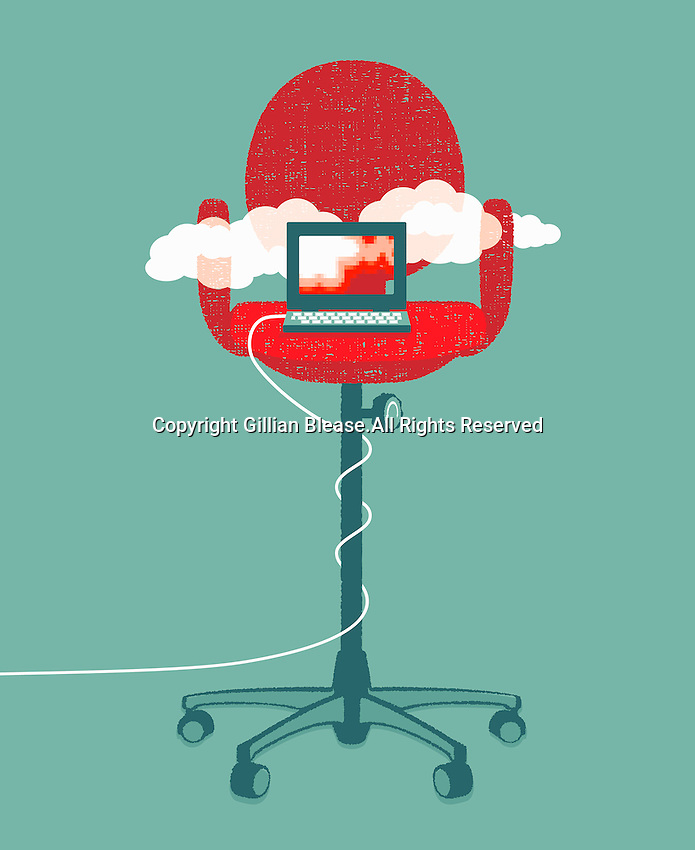Laptop cloud computing on tall office chair