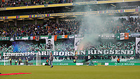 """3rd November 2019; Aviva Stadium, Dublin, Leinster, Ireland; FAI Cup Final Football, Dundalk Football Club versus Shamrock Rovers; Shamrock Rovers supporter with a banner that reads """"Legends are born in Ringsend"""" - Editorial Use"""