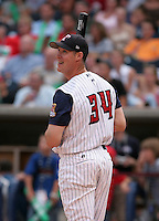Infielder Ryan Ludwick #34 of the Toledo Mudhens during the home run derby before the Triple-A All-Star Game at Fifth Third Field on July 10, 2006 in Toledo, Ohio.  (Mike Janes/Four Seam Images)