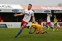 Ben House of Dagenham and Redbridge scores the first goal for his team and celebrates during Dagenham & Redbridge vs Aldershot Town, Vanarama National League Football at the Chigwell Construction Stadium on 16th November 2019