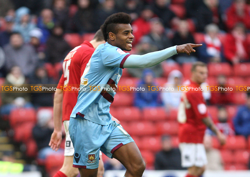 Ricardo Vaz Te celebrates after scoring the 4th goal for West Ham - Barnsley vs West Ham United, npower Championship at Oakwell Stadium, Barnsley - 06/04/12 - MANDATORY CREDIT: Rob Newell/TGSPHOTO - Self billing applies where appropriate - 0845 094 6026 - contact@tgsphoto.co.uk - NO UNPAID USE.