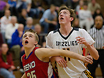 Reno's Brecken Hicks and Galena's Josiah Wood fight for a rebound in their Northern Region Division I boys basketball game played at Galena High School on Tuesday night, Feb. 17, 2015.