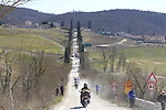 The breakaway group tackle Sector 3 Bagnaia of gravel during the 2015 Strade Bianche Eroica Pro cycle race 200km over the white gravel roads from San Gimignano to Siena, Tuscany, Italy. 7th March 2015<br /> Photo: Eoin Clarke/www.newsfile.ie