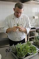 """Asie/Israël/Galilée/Rosh Pina/Safed: tri des herbes au restaurant """"Muscat"""" de l'Hotel Restaurant """"Mizpe Hayamim"""" avec sa ferme bio créé par le docteur Yaros Yaroshlavsky dans les années 60"""