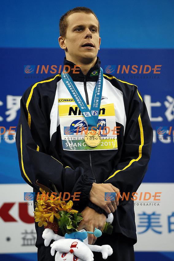 CIELO FILHO Cesar Brazil Gold Medal.Men's 50m freestyle Swimming Nuoto.Shanghai 30/7/2011 .14th FINA World Championships.Foto Andrea Staccioli Insidefoto