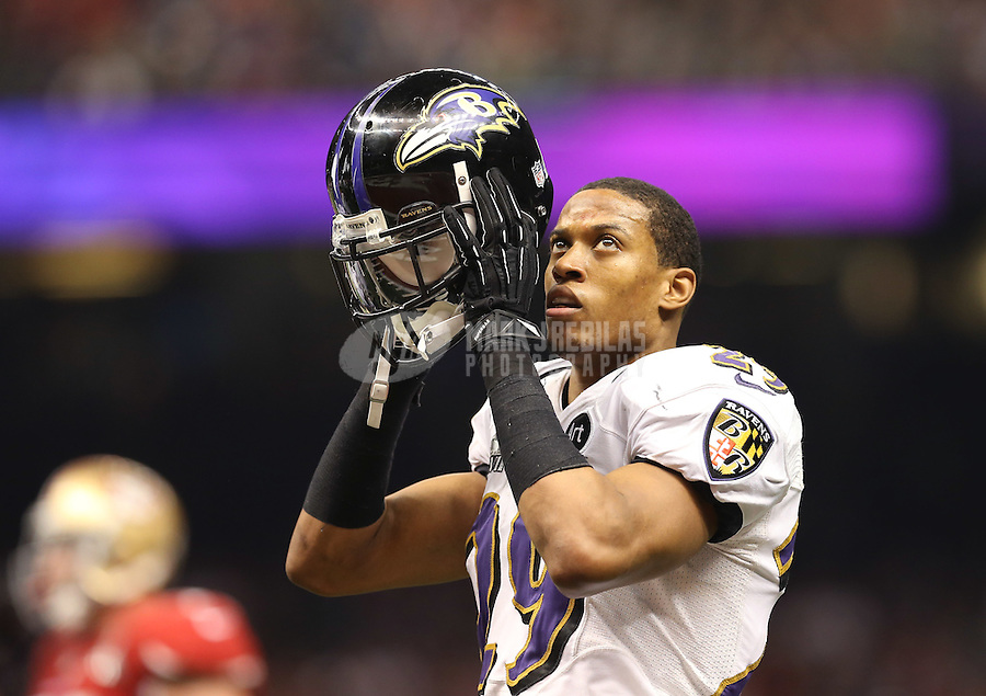 Feb 3, 2013; New Orleans, LA, USA; Baltimore Ravens cornerback Cary Williams (29) against the San Francisco 49ers in Super Bowl XLVII at the Mercedes-Benz Superdome. Mandatory Credit: Mark J. Rebilas-