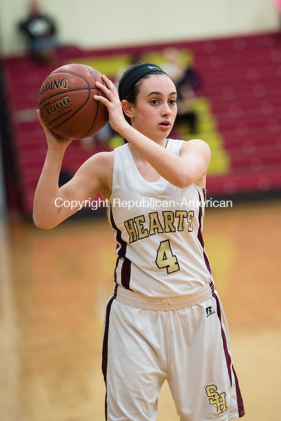 WATERBURY, CT- 11 January 2015-011116EC05-    Action man. Sacred Heart's Jenna Madigan during a game against Woodland Monday night. Erin Covey Republican-American