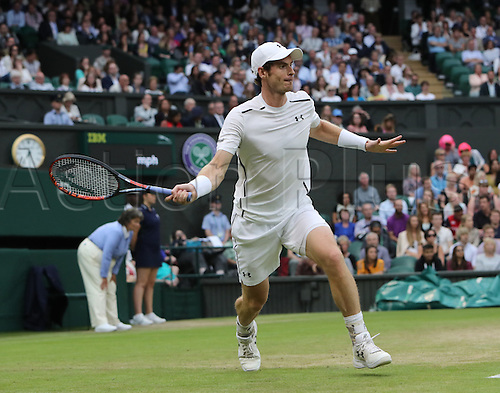 02.07.2016. All England Lawn Tennis and Croquet Club, London, England. The Wimbledon Tennis Championships Day Six. Number 2 seed, Andy Murray (GBR) hits a forehand winner during his singles match against John Millman (AUS).