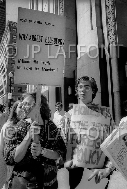 Boston, MA, on June 28th 1971. At the court building downtown Boston, well-wishers and supporters with signs are waiting for Daniel Ellsberg to come out.