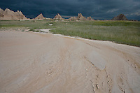 Severe storm approaching the badlands; Badlands National Park, SD
