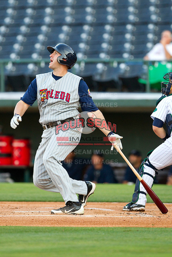 Brad Eldred #44 of the Toledo Mud Hens follows through on his swing against the Charlotte Knights at Knights Stadium on May 8, 2012 in Fort Mill, South Carolina.  (Brian Westerholt/Four Seam Images)