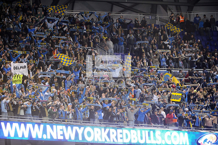 Philadelphia Union fans after the match. The New York Red Bulls defeated the Philadelphia Union  1-0 during a Major League Soccer (MLS) match at Red Bull Arena in Harrison, NJ, on October 20, 2011.