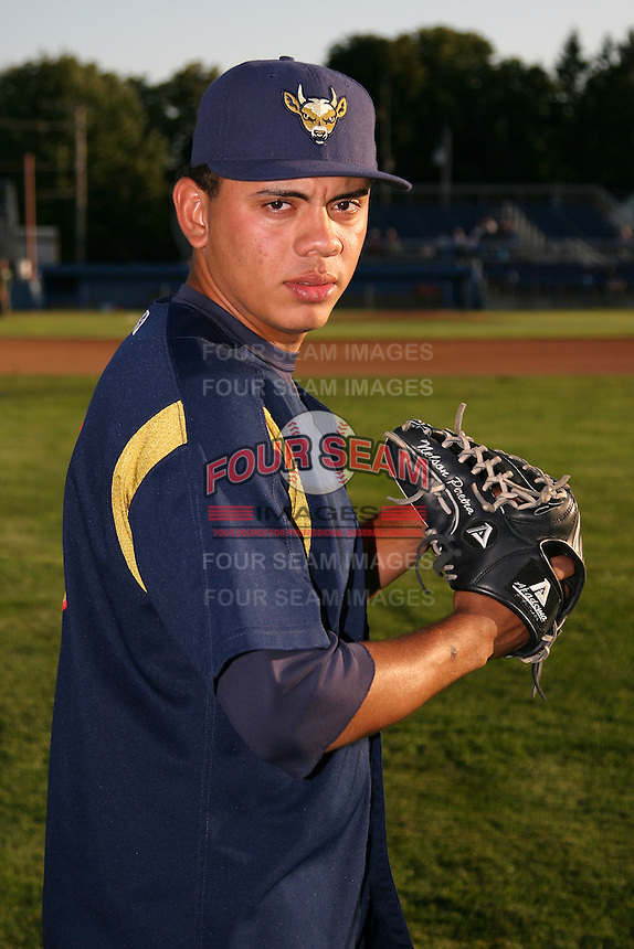 September 1, 2009:  Pitcher Nelson Pereira of the State College Spikes during a game at Frontier Field in Rochester, NY.  State College is the NY-Penn League affiliate of the Pittsburgh Pirates.  Photo By Mike Janes/Four Seam Images