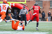 College Park, MD - October 27, 2018: Maryland Terrapins running back Javon Leake (20) runs a kickoff for a touchdown during the game between Illinois and Maryland at  Capital One Field at Maryland Stadium in College Park, MD.  (Photo by Elliott Brown/Media Images International)