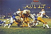 Washington Redskins running back John Riggins (44) scores a touchdown during the game against the Baltimore Colts at Memorial Stadium in Baltimore, Maryland on November 6, 1978.  The Colts won the game 21- 17..Credit: Arnie Sachs / CNP