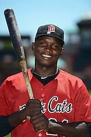 New Britain Rock Cats third baseman Miguel Sano #24 poses for a photo after a game against the Erie Seawolves on June 20, 2013 at Jerry Uht Park in Erie, Pennsylvania.  New Britain defeated Erie 2-0.  (Mike Janes/Four Seam Images)