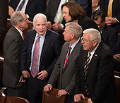 United States Senators John McCain (R-AZ)(left), Lindsey Graham (R-SC)(center) and Mike Enzi (R-WY)(right) await the arrival of U.S. President Donald J. Trump to address a joint session of Congress on Capitol Hill in Washington, DC, February 28, 2017. <br /> Credit: Chris Kleponis / CNP