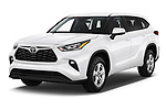 2020 Toyota Highlander LE 5 Door SUV angular front stock photos of front three quarter view